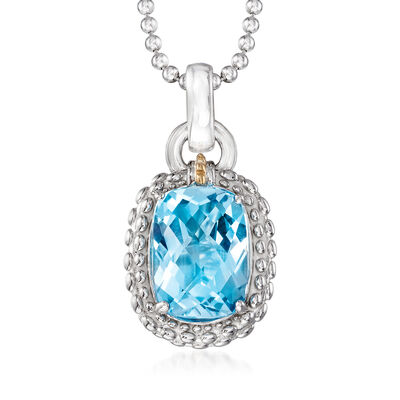 "Phillip Gavriel ""Popcorn"" 6.00 Carat Blue Topaz Pendant Necklace in Sterling Silver with 18kt Yellow Gold"