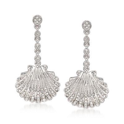.17 ct. t.w. Diamond Seashell Drop Earrings in Sterling Silver, , default