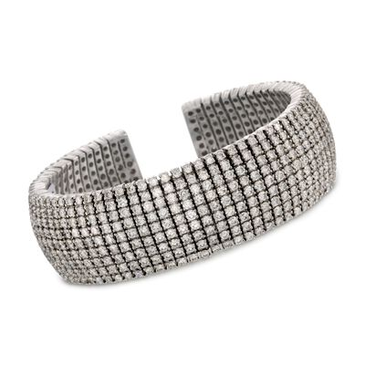 21.05 ct. t.w. Multi-Row Diamond Cuff Bracelet in 18kt White Gold