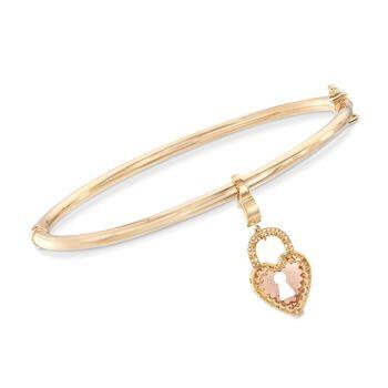 "Italian 14kt Two-Tone Gold Heart Padlock Charm Bangle Bracelet. 7.5"", , default"