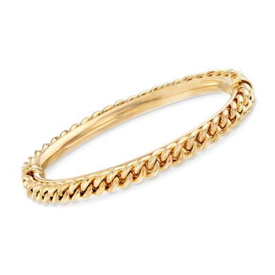 Italian 18kt Yellow Gold Over Sterling Silver Textured Bangle Bracelet, , default