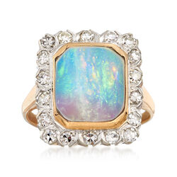 C. 1950 Vintage Opal and .75 ct. t.w. Diamond Frame Ring in 14kt White Gold. Size 7, , default