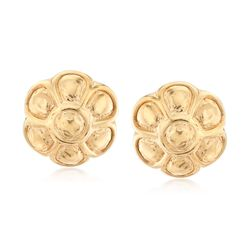 Italian 18kt Yellow Gold Over Sterling Silver Flower Earrings , , default
