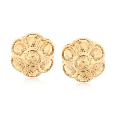 Italian 18kt Yellow Gold Over Sterling Silver Flower Earrings , , default