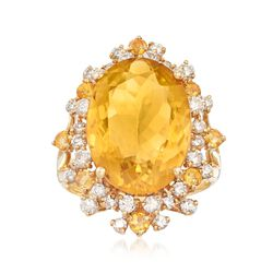 10.50 ct. t.w. Citrine and 1.25 ct. t.w. Diamond Ring in 18kt Yellow Gold, , default