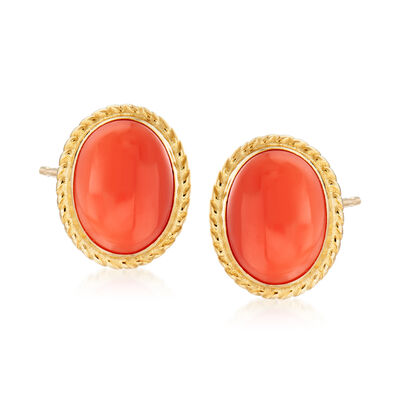 Oval Coral Stud Earrings in 14kt Yellow Gold  , , default