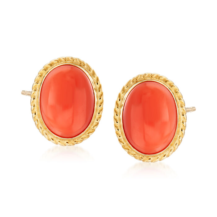Oval Coral Stud Earrings in 14kt Yellow Gold, , default