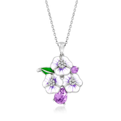 1.10 ct. t.w. Amethyst and .18 ct. t.w. White Topaz Flower Pendant Necklace with Enamel in Sterling Silver
