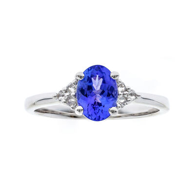 1.00 Carat Tanzanite Ring with Diamond Accents in 14kt White Gold