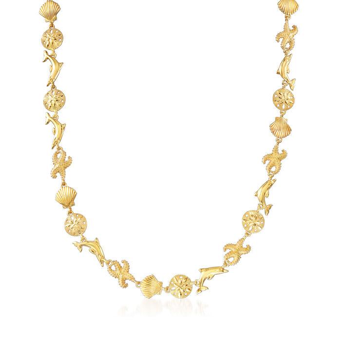 18kt Gold Over Sterling Silver Sea Life Link Necklace