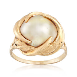 C. 1980 Vintage 15mm White Mabe Pearl Ring in 14kt Yellow Gold, , default
