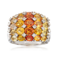 C. 1990 Vintage 7.82 ct. t.w. Yellow and Orange Sapphire and .52 ct. t.w. Diamond Ring in 18kt White Gold, , default
