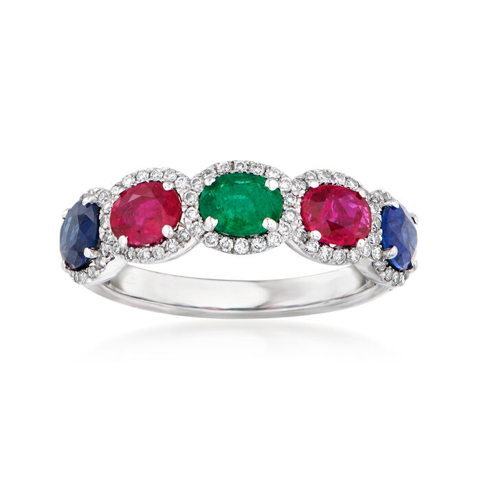 1.90 ct. t.w. Multi-Gemstone and .27 ct. t.w. Diamond Ring in 14kt White Gold