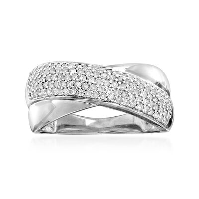 .50 ct. t.w. Pave Diamond Crisscross Ring in Sterling Silver, , default