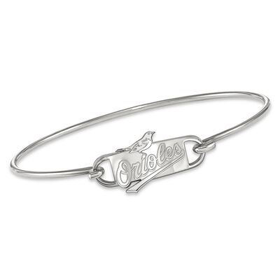 """Sterling Silver MLB Baltimore Orioles Small Center Wire Bangle Bracelet. 7"""", , default"""