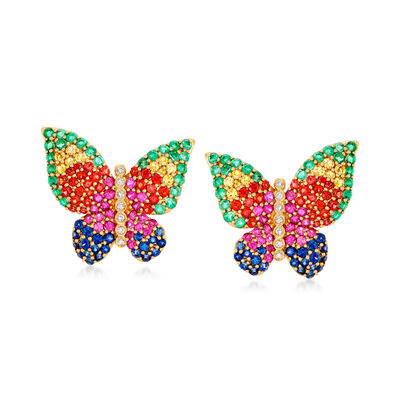 4.60 ct. t.w. Multicolored Sapphire, 1.60 ct. t.w. Emerald and .11 ct. t.w. Diamond Butterfly Earrings in 18kt Yellow Gold