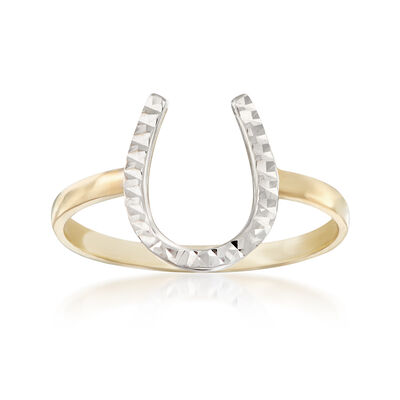 Diamond-Cut and Polished 14kt Two-Tone Gold Horseshoe Ring, , default