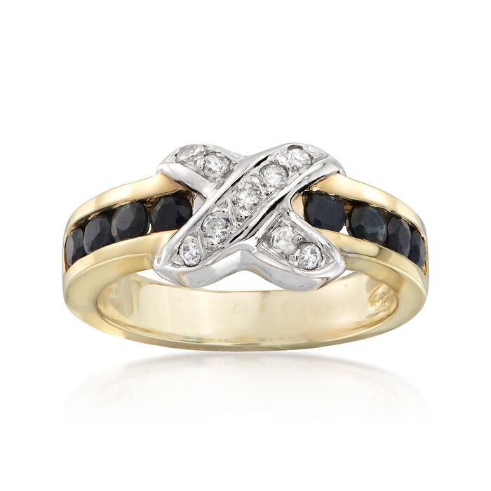 C. 1980 Vintage .60 ct. t.w. Sapphire and .20 ct. t.w. Diamond X Ring in 18kt Yellow Gold. Size 5.5, , default