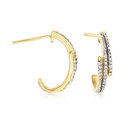 .15 ct. t.w. Diamond Zigzag J-Hoop Earrings in 18kt Gold Over Sterling