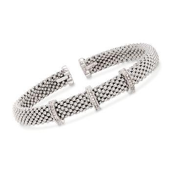 "Phillip Gavriel ""Popcorn"" Sterling Silver Woven Cuff Bracelet With Diamond Accents. 7"", , default"