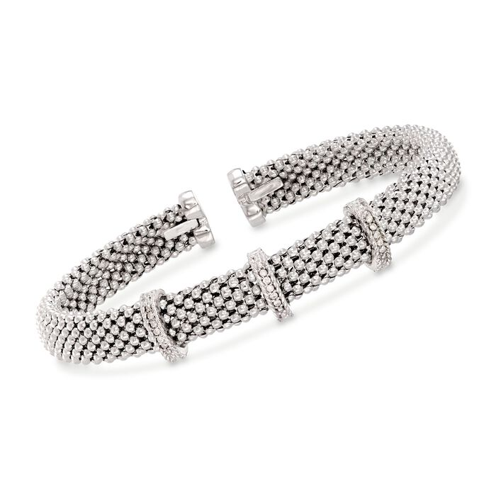 "Phillip Gavriel ""Popcorn"" Sterling Silver Woven Cuff Bracelet with Diamond Accents. 7"", , default"