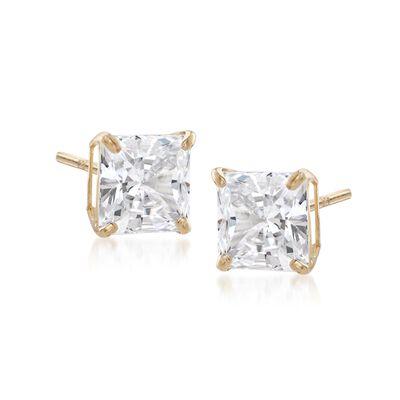 3.00 ct. t.w. Princess-Cut CZ Stud Earrings in 14kt Yellow Gold
