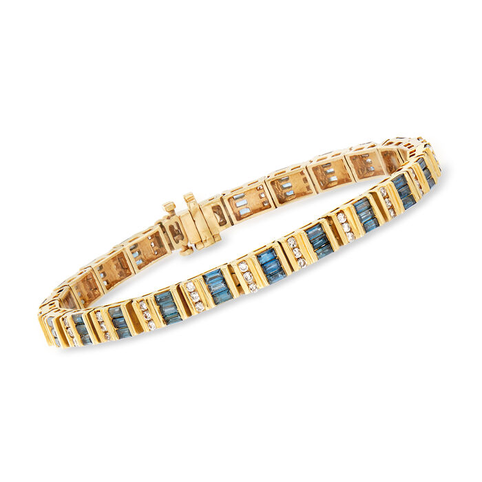 "C. 1990 Vintage 5.25 ct. t.w. Blue and White Diamond Bracelet in 14kt Yellow Gold. 7"", , default"