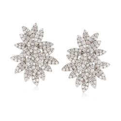 1.85 ct. t.w. Diamond Floral Earrings in 18kt White Gold, , default