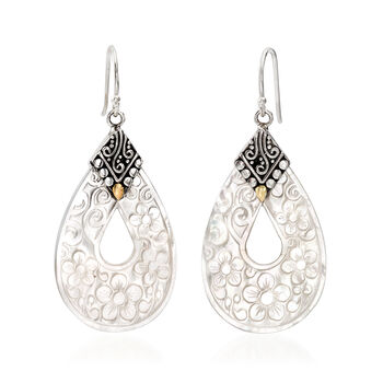Mother-Of-Pearl Floral Drop Earrings with Sterling Silver and 18kt Yellow Gold