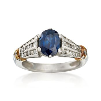 C. 1990 Vintage 1.65 Carat Sapphire and .55 ct. t.w. Diamond Ring in Platinum. Size 6, , default
