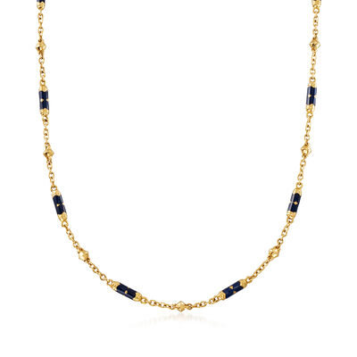 C. 1990 Vintage Blue Enamel Station Cable-Link Necklace in 18kt Yellow Gold