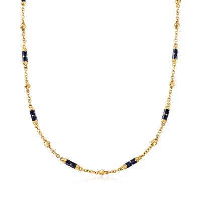 C. 1990 Vintage Blue Enamel Station Cable-Link Necklace in 18kt Yellow Gold, , default