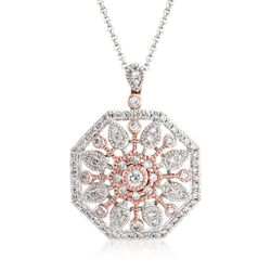 "Simon G. .51 ct. t.w. Diamond Sunburst Pendant Necklace in 18kt Two-Tone Gold. 18"", , default"