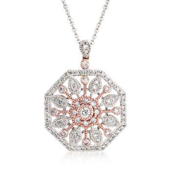"""Simon G. .51 ct. t.w. Diamond Sunburst Pendant Necklace in 18kt Two-Tone Gold. 18"""", , default"""