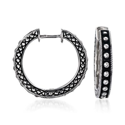 Andrea Candela Sterling Silver Beaded Center Hoop Earrings