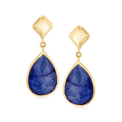 Italian 2.80 ct. t.w. Sapphire Drop Earrings in 14kt Yellow Gold, , default