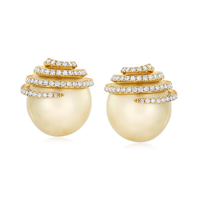 13-13.5mm Golden Cultured South Sea Pearl and .69 ct. t.w. Diamond Drop Earrings in 18kt Yellow Gold, , default