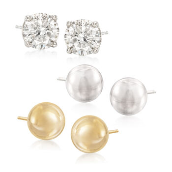 Sterling Silver, 14kt Gold and CZ Jewelry Set: Three Pairs of Stud Earrings, , default