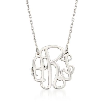 Sterling Silver Petite Monogram Necklace, , default
