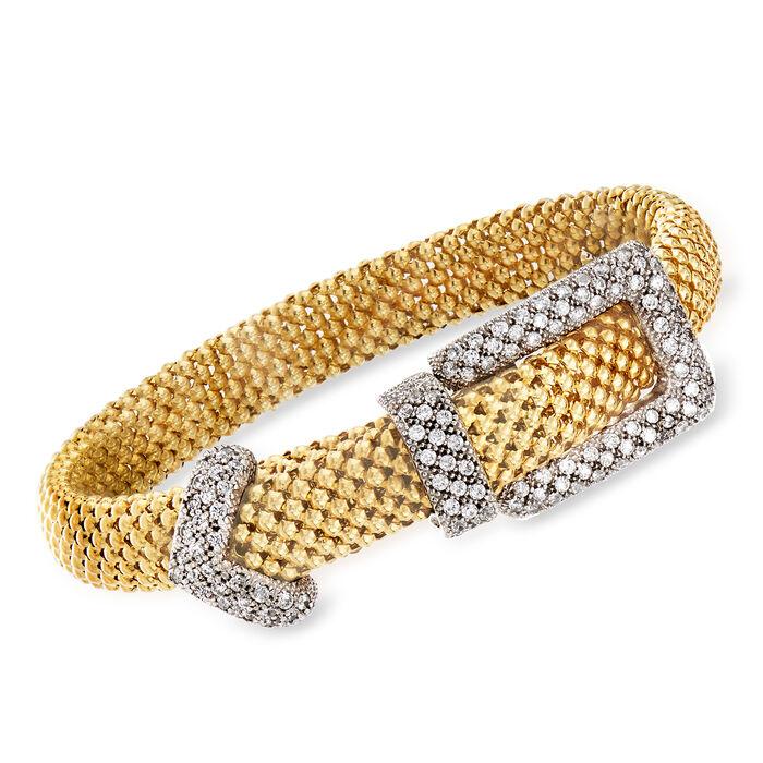 "C. 1980 Vintage 3.40 ct. t.w. CZ Buckle Bracelet in 14kt Yellow Gold. 7"""