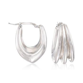 """Italian Sterling Silver Fluted Hoop Earrings. 7/8"""", , default"""