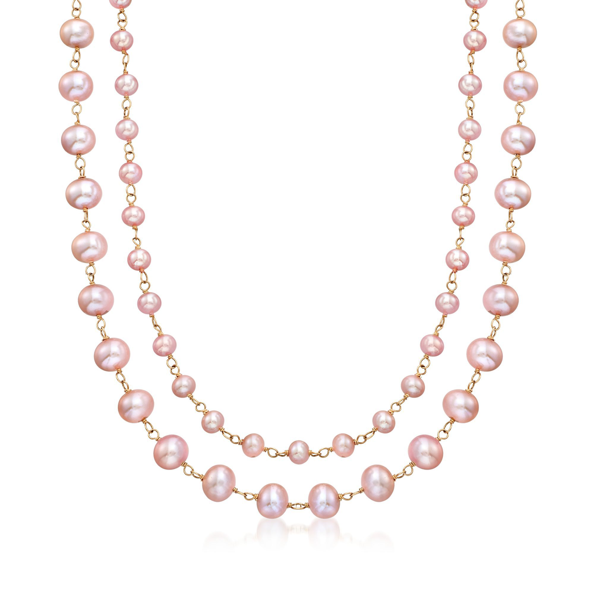 14k Yellow Gold 7mm Egg Pink Pearl Chain Necklace
