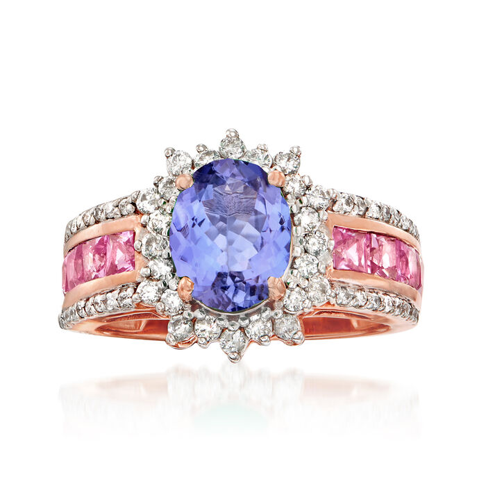 1.80 Carat Tanzanite, 1.20 ct. t.w. Pink Sapphire and .50 ct. t.w. Diamond Ring in 14kt Rose Gold. Size 6, , default