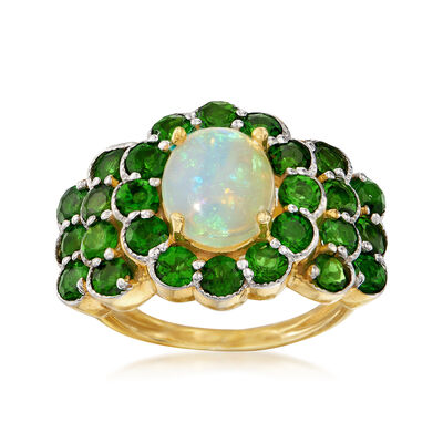 Opal and 3.10 ct. t.w. Chrome Diopside Ring in 18kt Gold Over Sterling, , default