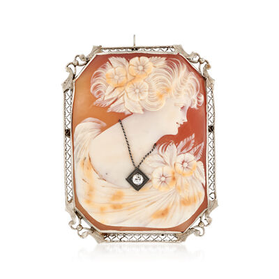 C. 1940 Vintage Shell Cameo Pin Pendant with Diamond Accent in 14kt White Gold, , default
