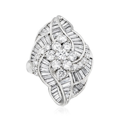 C. 2000 Vintage 3.02 ct. t.w. Round and Baguette Diamond Cluster Swirl Ring in Platinum