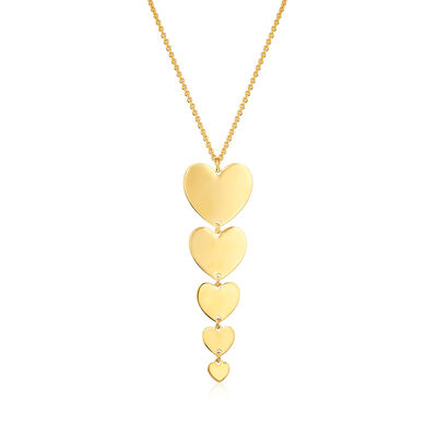 Italian 18kt Gold Over Sterling Five-Heart Drop Necklace, , default