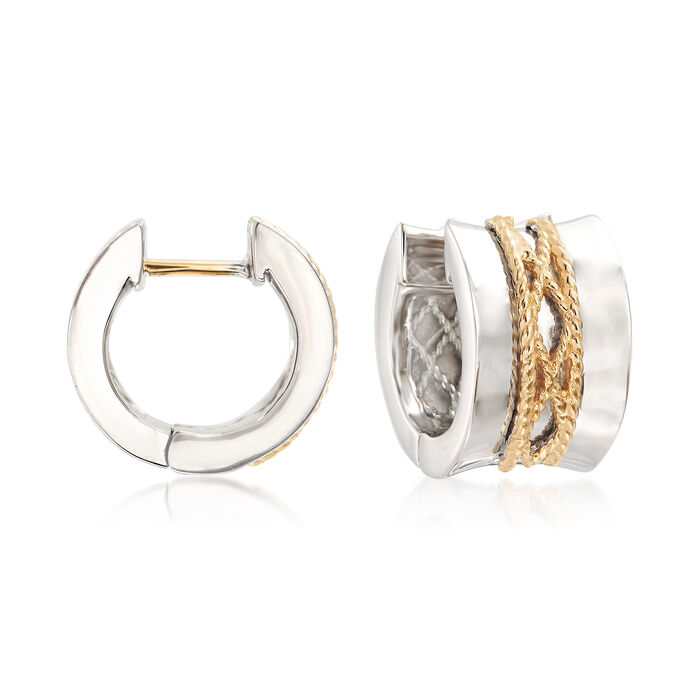 """Andrea Candela """"El Corse"""" Sterling Silver and 18kt Yellow Gold Huggie Hoop Earrings. 1/2"""""""