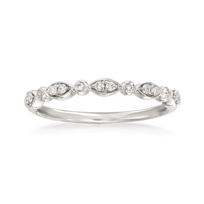 Henri Daussi .11 ct. t.w. Diamond Wedding Ring in 18kt White Gold, , default