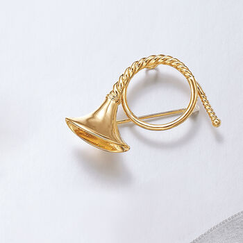 18kt Yellow Gold Over Sterling Silver French Horn Pin, , default